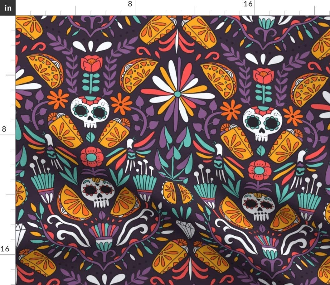 Spoonflower Fabric - Mexican Food Calaveras Tacos Taco Burritos Day Sugar Skull Mexico Printed on Denim Fabric by The Yard - Bottomweight Apparel Home Decor Upholstery