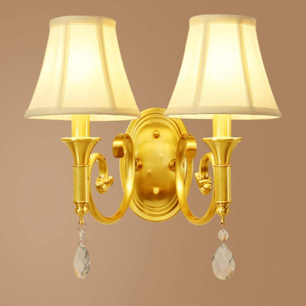 Modern E14 Wall Lamp Sconce Wall Lights Cloth Lampshade Double Head Night Light for Bedside Corridor Aisle