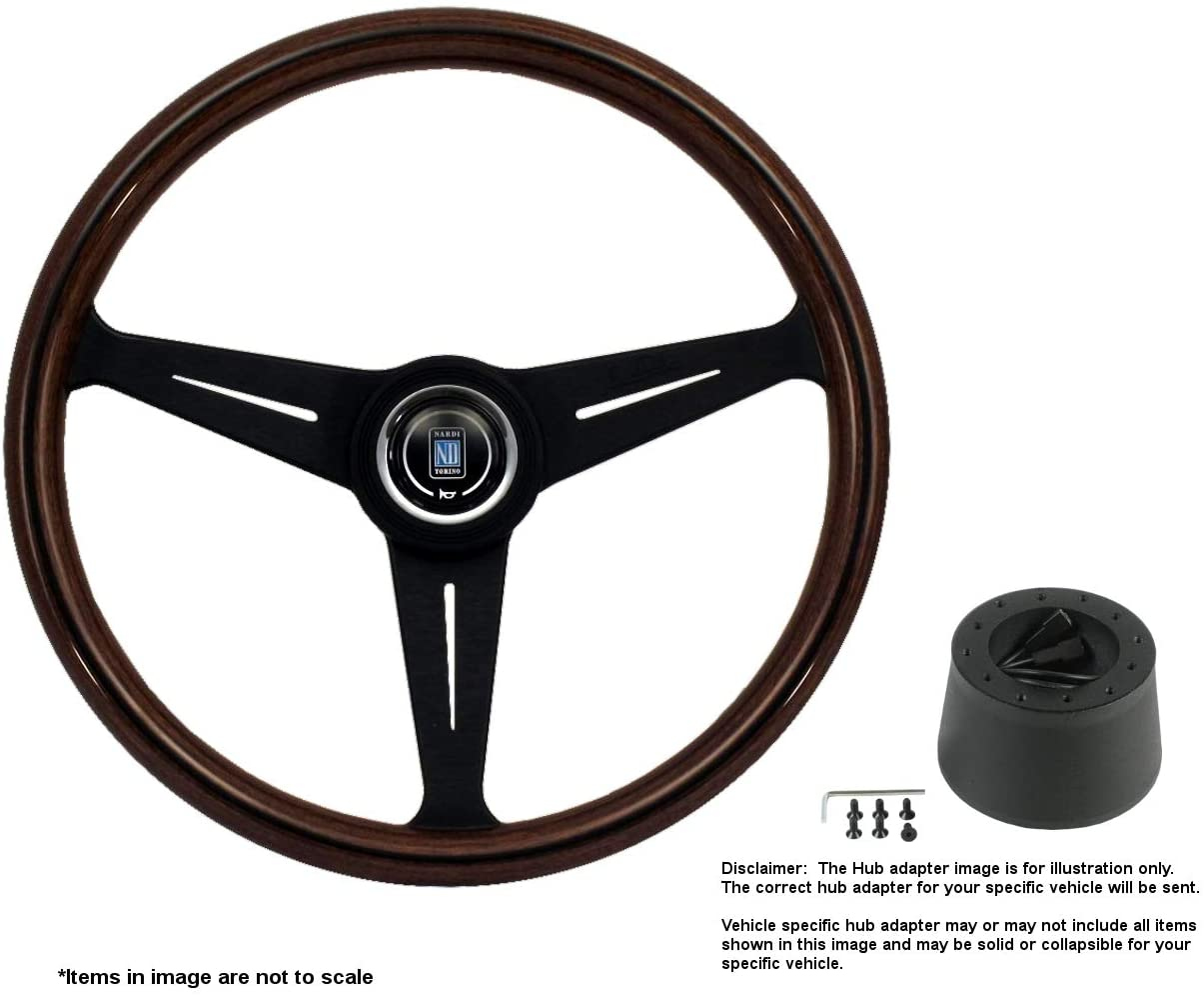 Nardi Classic 390mm (15.35 Inches) Wood Steering Wheel w/Black Spokes and Hub Adapter Compatible With Porsche 356A Part # 5051.39.2300 + .3804