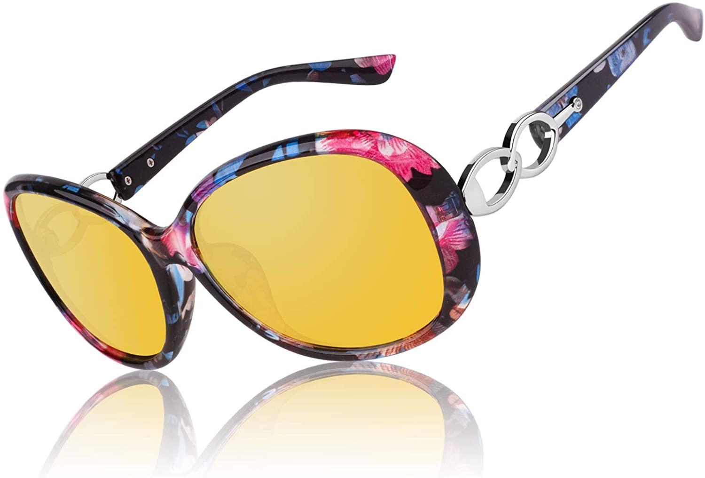 CGID Night Vision Glasses Driving Oversized Women Anti Glare Polarized Glasses