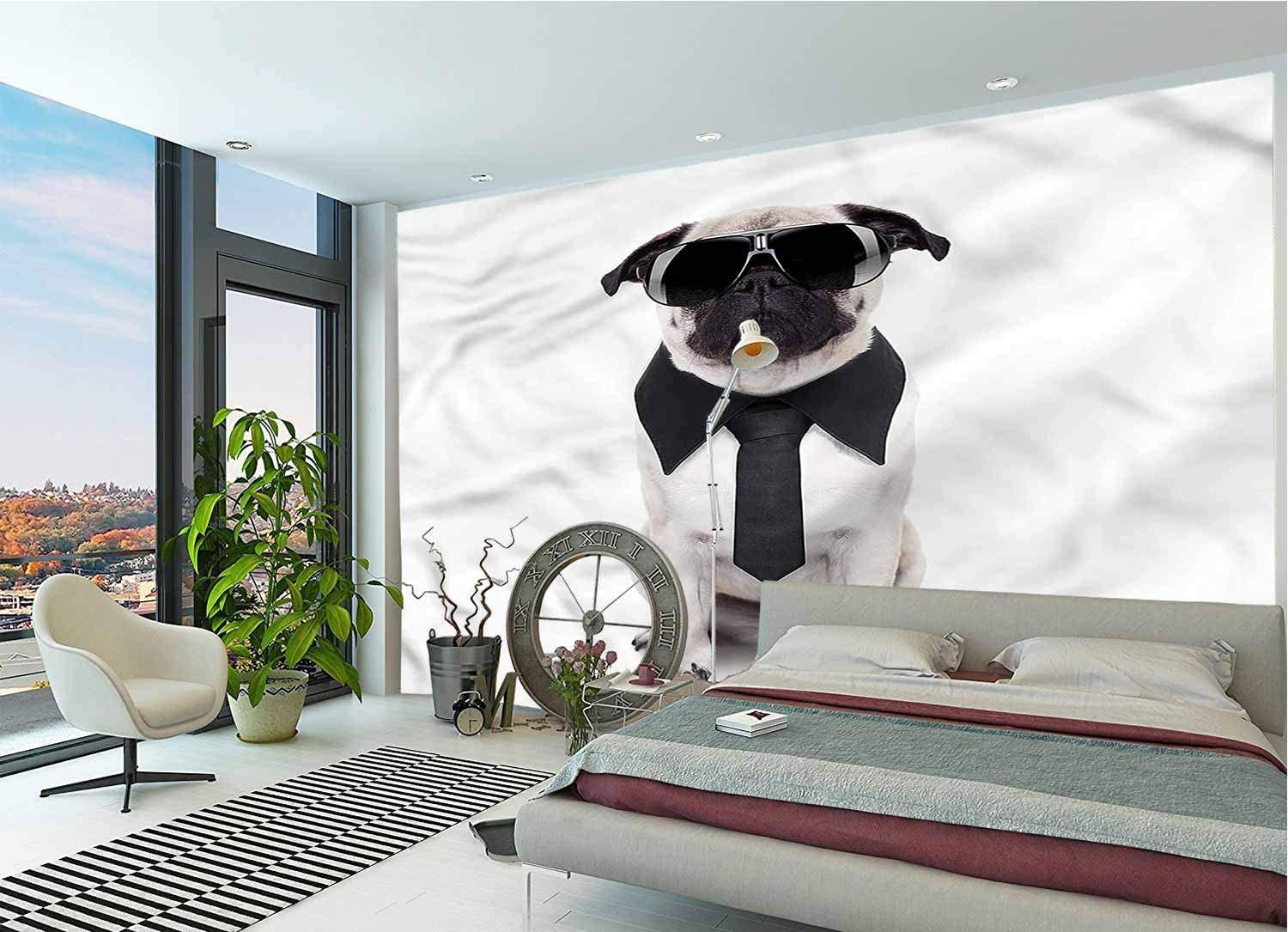 LCGGDB Pug Wall Stickers Murals,Cool Dog with Tie Glasses Large Photo Wallpaper for Office Livingroom Girls Bedroom Family Wall Decals-144x100 Inch