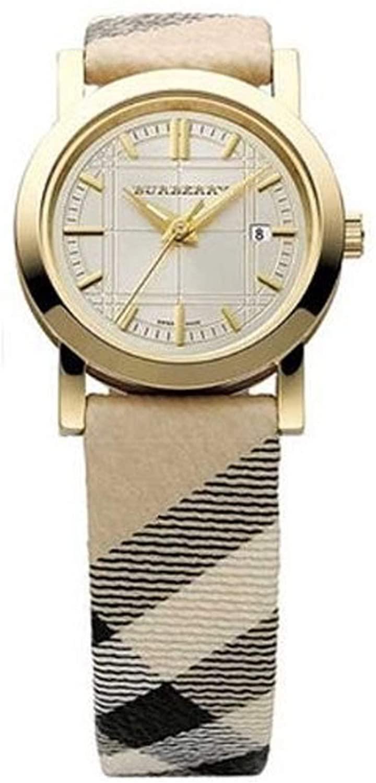 Burberry BU1399 Swiss Quartz Nova Check Goldtone Case Womens Watch