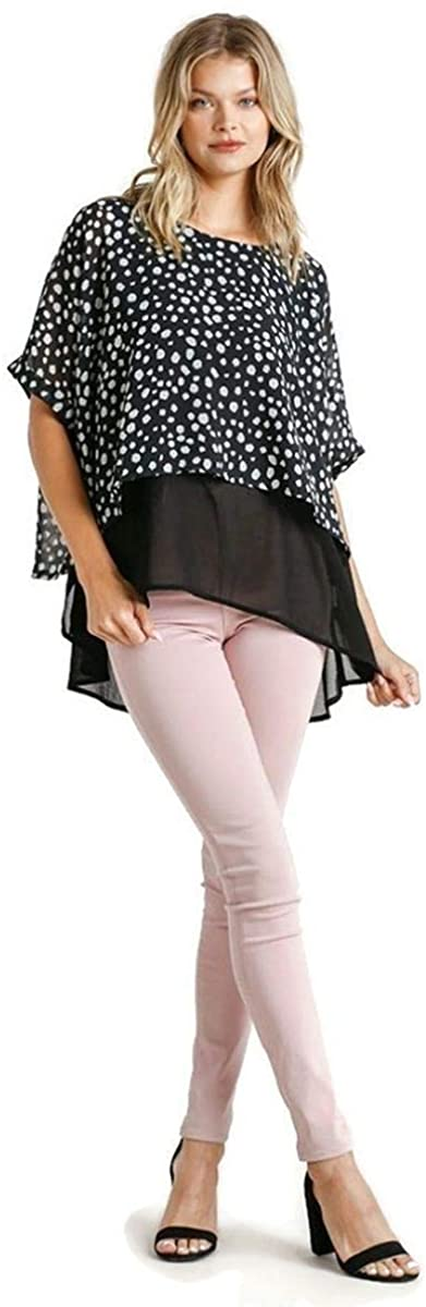 Umgee Women's Dalmation Layered Cuffed 1/2 Sleeve Tunic