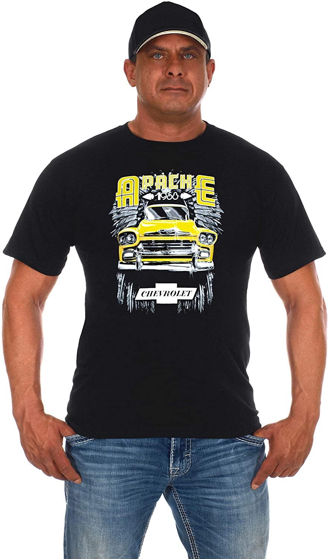 JH Design Men's Chevy Truck Black T-Shirt 1958 Apache Crew Neck Shirt for Men