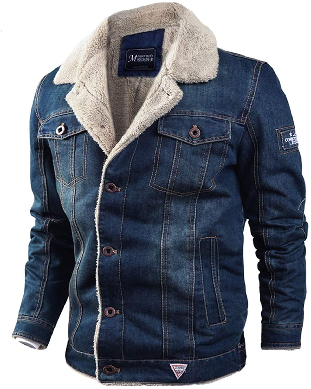 Soluo Men's Sherpa Fleece Lined Denim Trucker Jacket Winter Jean Jacket Cowboy Coat Outerwear Overcoat