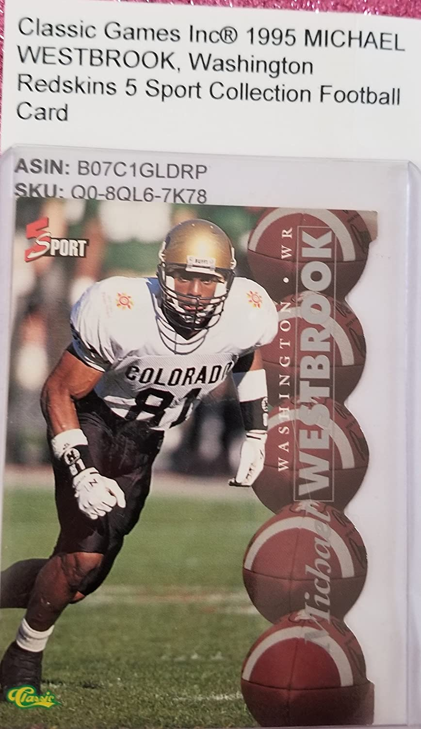 1995 Classic Games Inc® MICHAEL WESTBROOK, Washington Redskins 5 Sport Collection Football Card