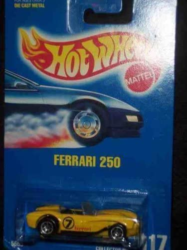 Hot Wheels #117 Ferrari 250 Plastic Base Black Pipes 7-Spoke Wheels Collectible Collector Car Mattel 1:64 Scale