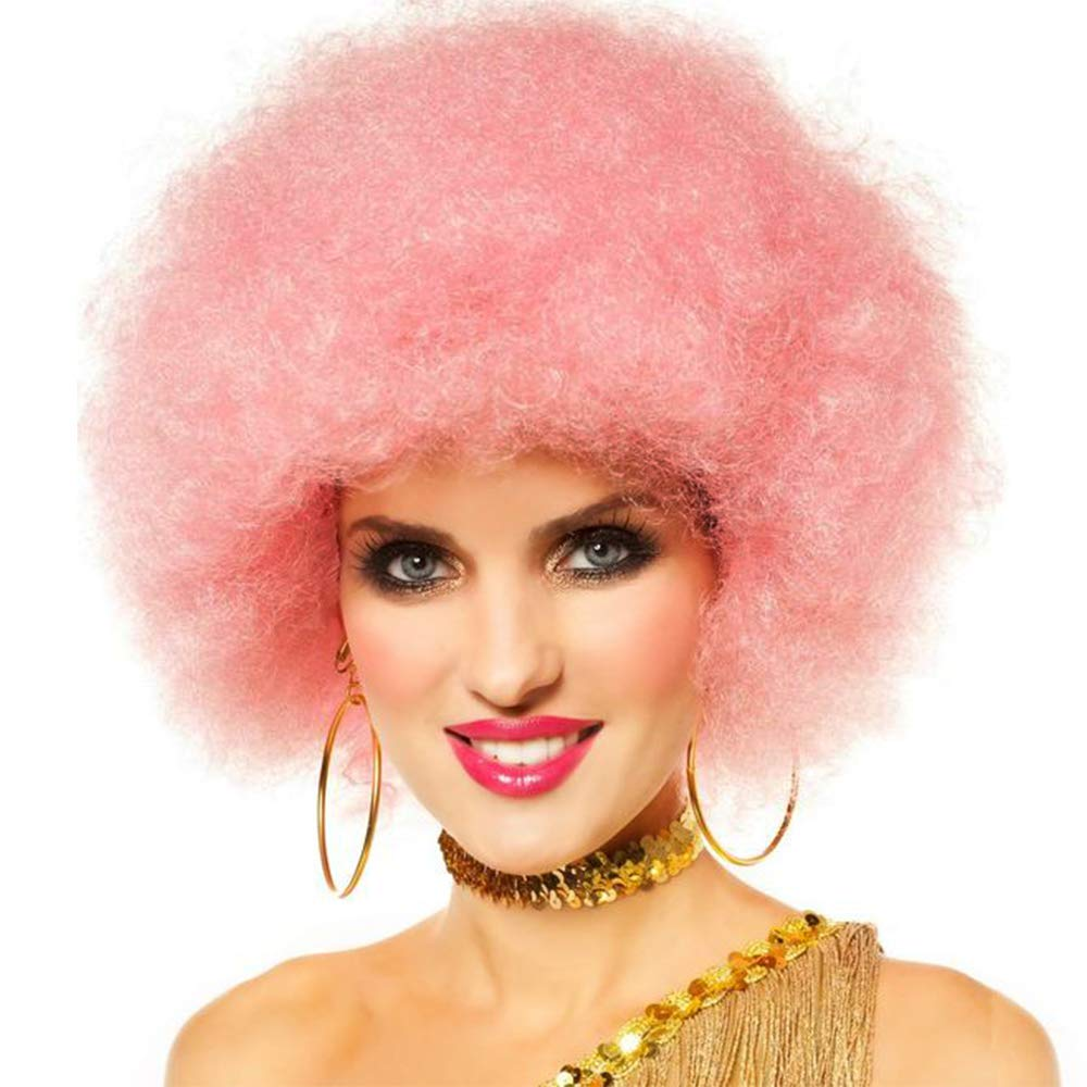 Short Afro Puffy Synthetic Pink Hair Wig Andromeda 60s 70s Heat Resistant Fluffy Hair Wig Unisex Men Women Cosplay Anime Fancy Funny Hip Hop Party Wigs (Pink)
