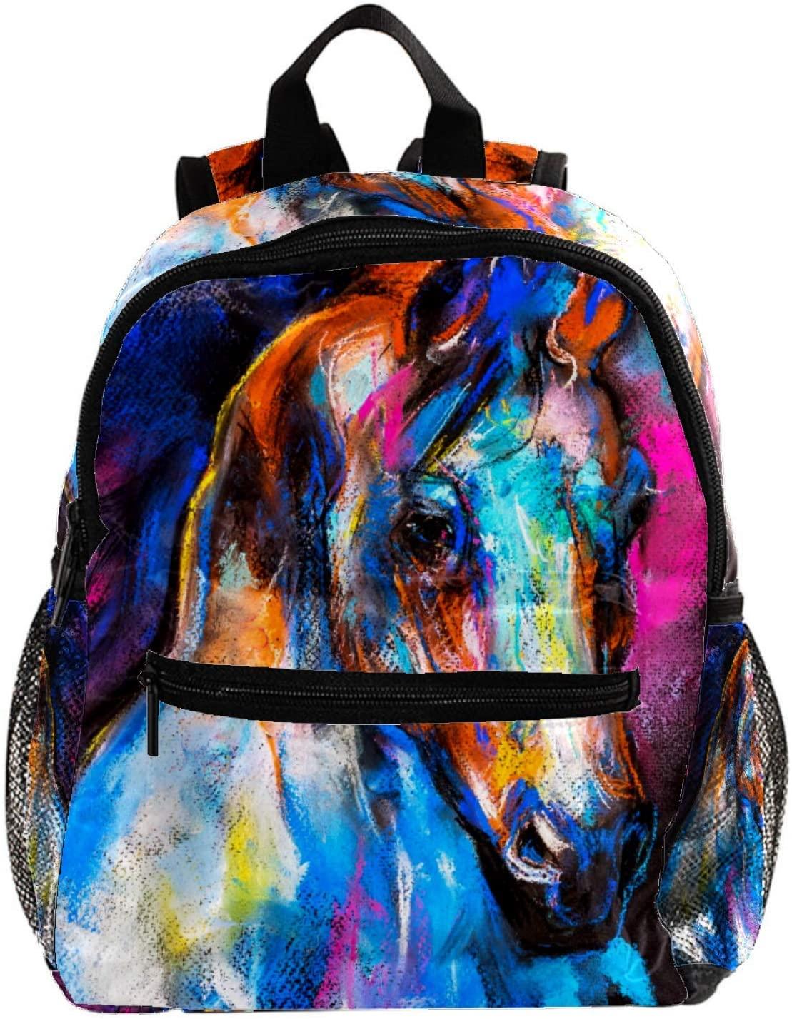 Backpack For Kids Colorful Watercolor Horse Preschool Backpack Little Kids Dackpack