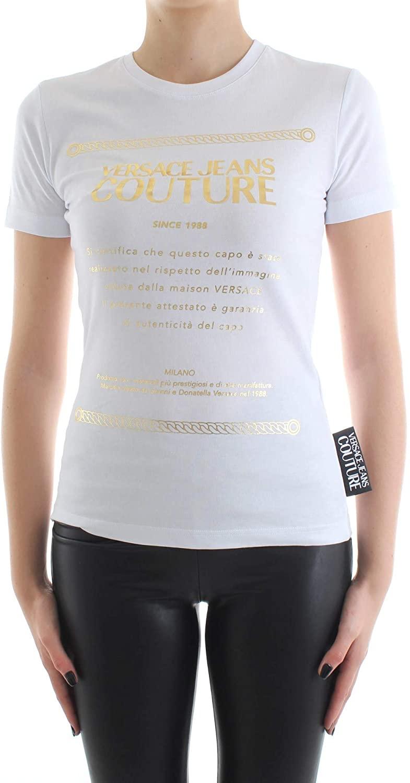 Versace Couture Women's Etichetta Gold Foil Label Tee Shirt White