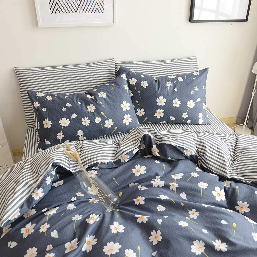 HIGHBUY Floral Print Kids Girls Bedding Duvet Cover Set Twin Cotton Striped Reversible Stripe Pattern Navy Blue Teens Boys Bedding Sets Twin 3 PC Single Bed Comforter Covers with Zipper Closure