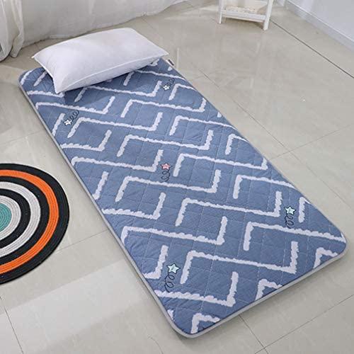 D&LE Japanese Floor Futon Mattress, Tatami Sleeping Floor Mat Portable Foldable Roll Up Mattress Soft Breathable Dormitory Pad-Blue C 180x200x5cm(71 x 79 inch)