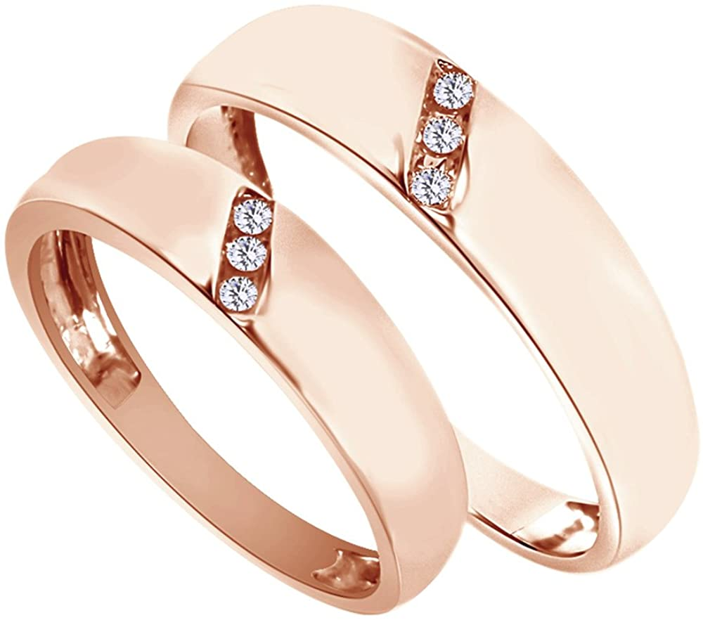 AFFY White Natural Diamond His Hers Wedding Band Set in 14K Rose Gold (0.1 Cttw)