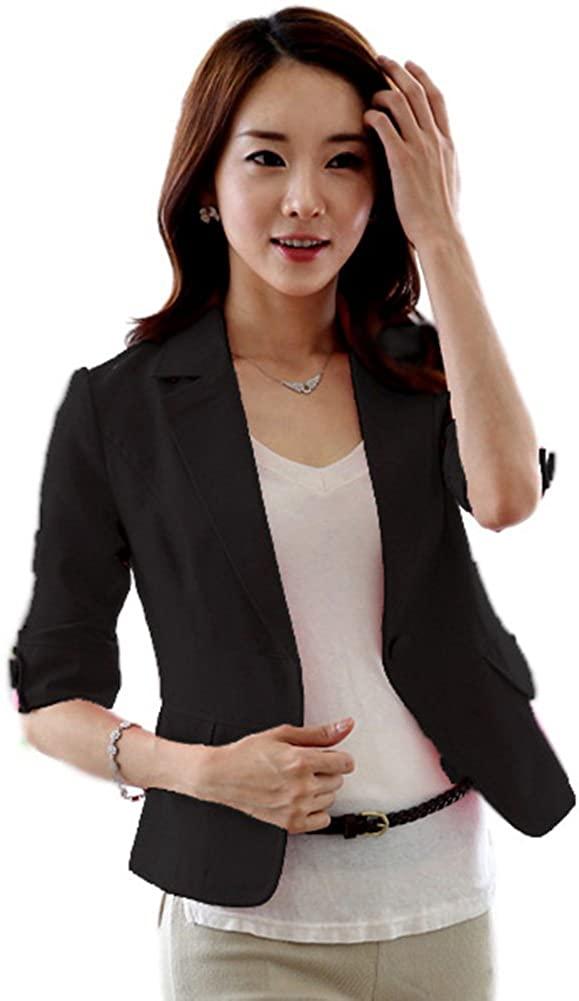 Luxsea Women's Stylish 3/13 Sleeve One Button Blazer Short OL Style Suit Coat Tops