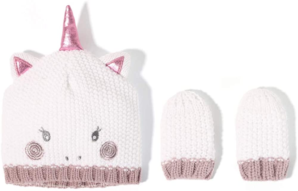 accsa Baby Girl Lovely Unicorn Beanie Hat + Mitten Set for New-Born to 12 Month