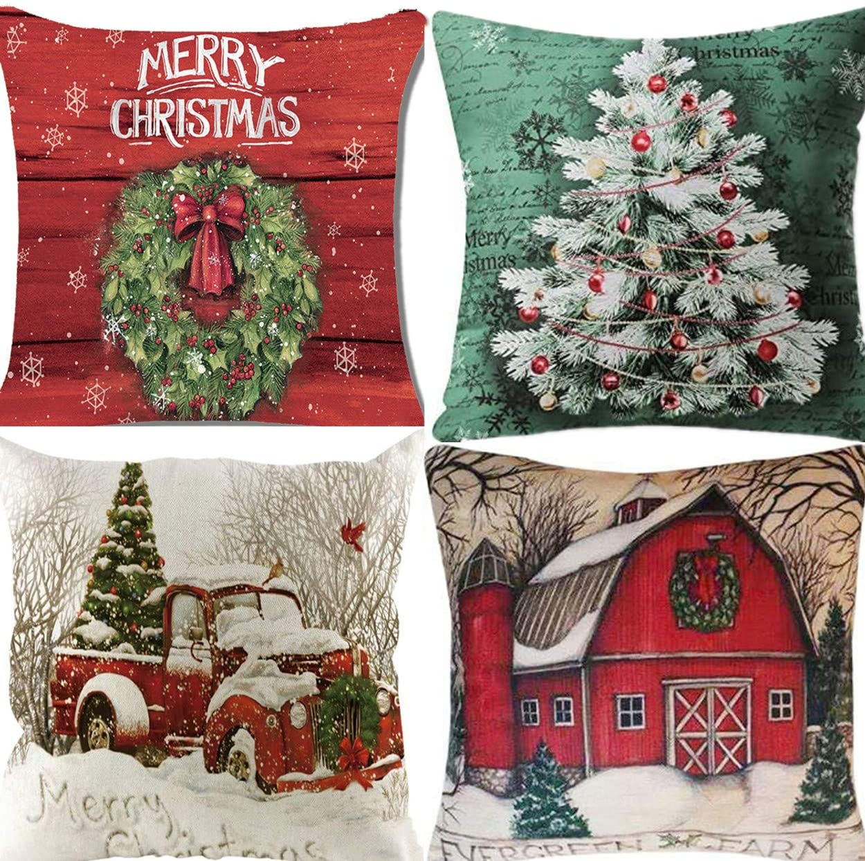 Unibedding Merry Christmas and Christmas Tree Pillows Covers for Christmas Decor Winter Truck Pillow Case Set of 4 Christmas Decoration Cotton Linen Cushion Covers 18 x18