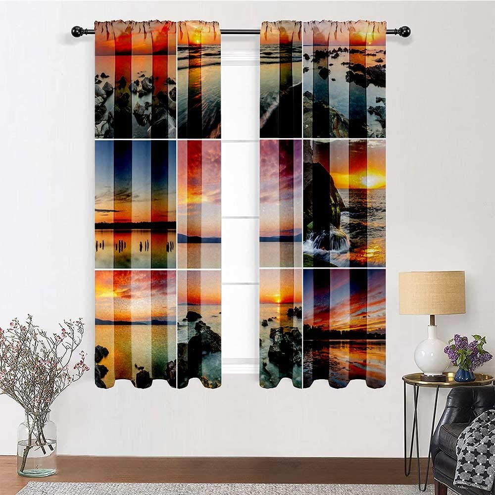 Patio Curtains Landscape for Bedroom Living Room Sunset Panorama Sunlight Over Sea Stones Mountains Natural Paradise Coast Summer 2 Panels 84