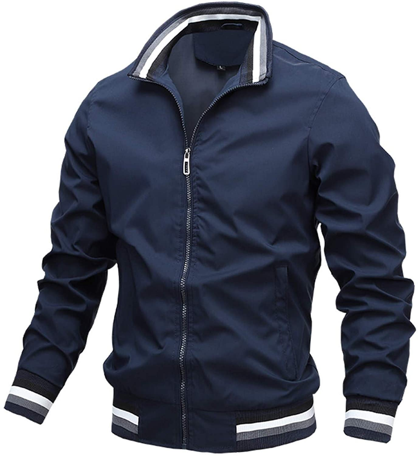 Men's Military Jacket Lightweight Cotton Stand Collar Casual Utility Coat Outwear Overcoat