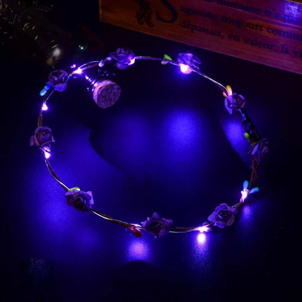 GLVSZ LED Flashing Roses Flower Crown For Women Girls LED Flower Headpiece Headbands Bohemian Artificial Hair Wreath Holiday Wedding Festival Party Purple