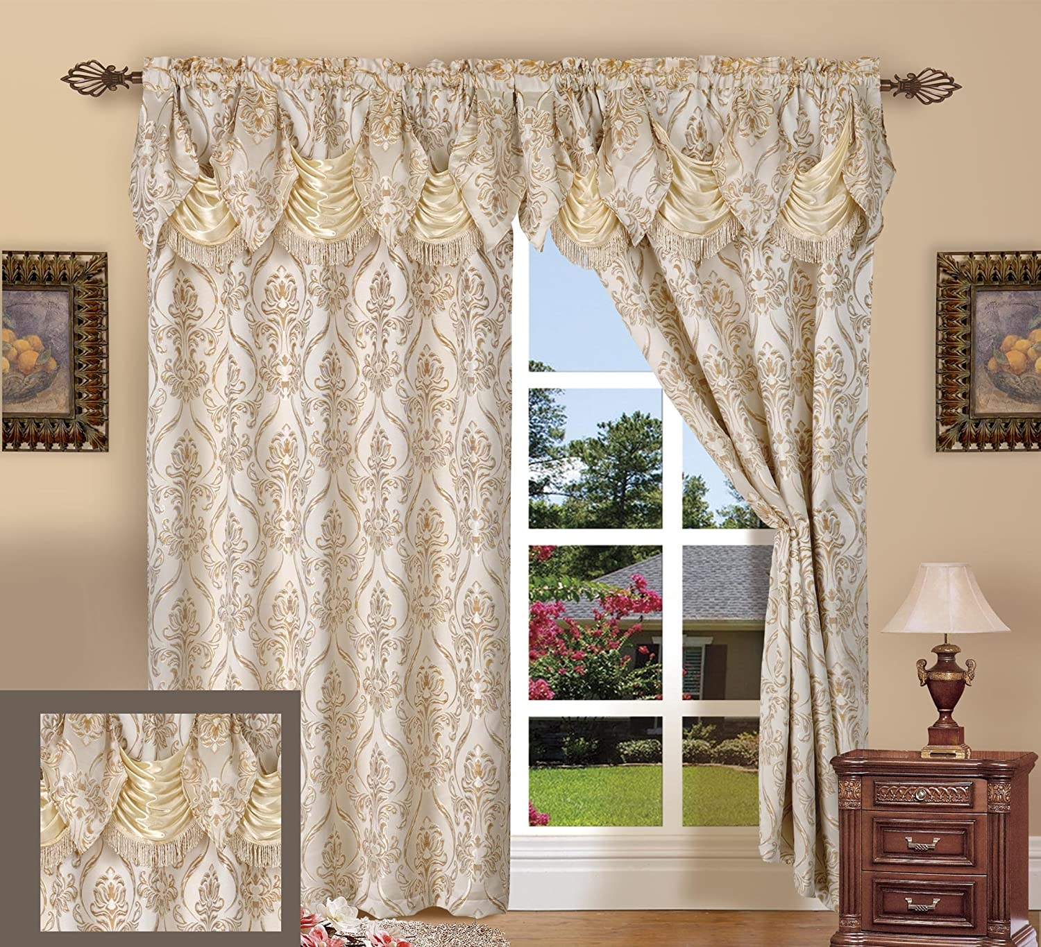Elegance Linen Luxury Jacquard Curtain Panel Set with Attached Valance 55