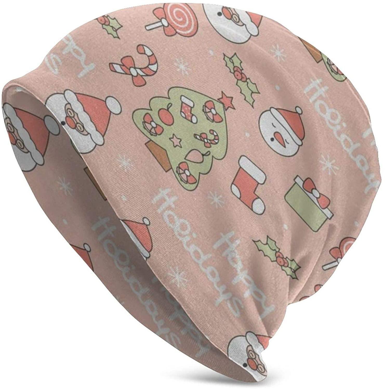 N\ A Skull Cap Cute Santa Claus (2) Beanie Hat Winter Knit Sleep Caps Hats for Women Men