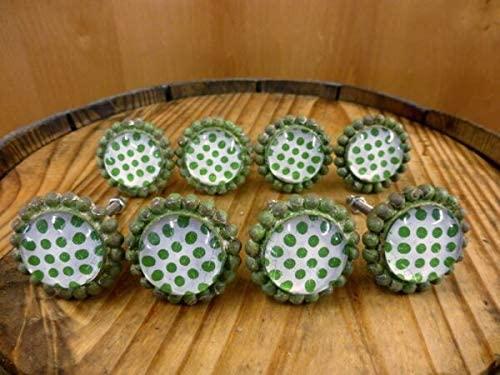 NIBOMID - Vintage Cast Iron Made Like Old Stuff Supplies for 8 Green Sun Flower Glass Drawer Cabinet PULLS KNOBS Vintage Chic Garden Hardware DIY for Cast Iron Shelf Brackets Supplies for Wall & HOM