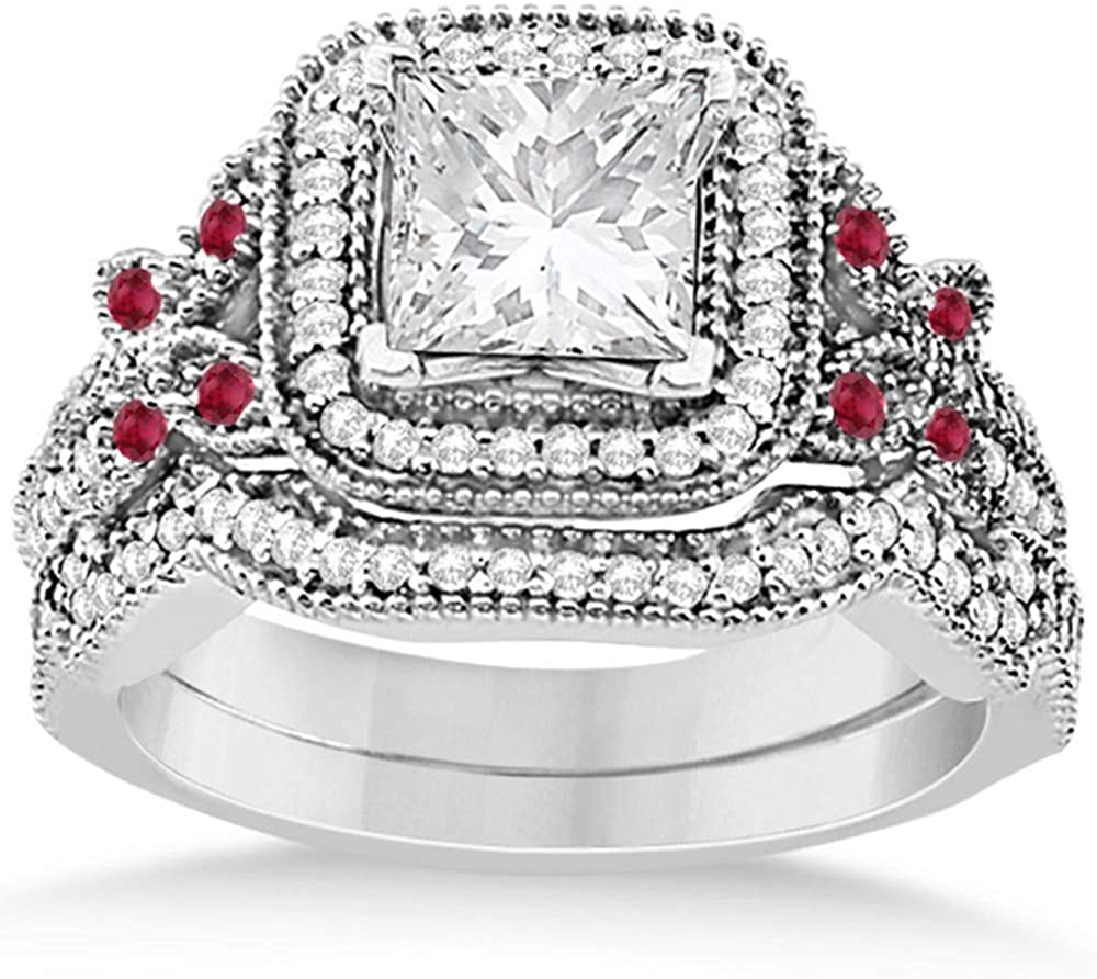 Ruby and Diamond Accented Square-Halo Milgrain Edge Butterfly Bridal Set in Palladium 0.51ct