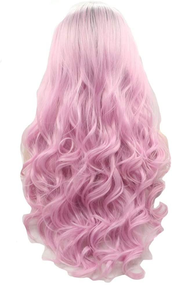 Pink Synthetic Wigs for Women, Natural Looking Long Wavy Middle Side Parting Lace Front Heat Resistant Replacement Full Wig