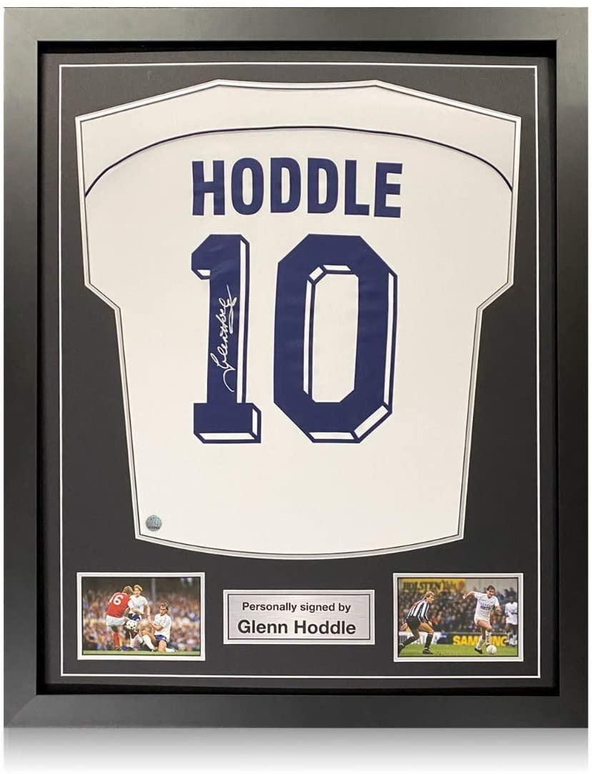 Glenn Hoddle Signed Tottenham Hotspur 1986 Soccer Jersey. Number 10. Standard Frame | Autographed Sports Memorabilia