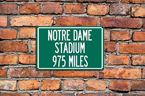 MariaCh457 Personalized Steel Highway Distance Sign to Notre Dame Stadium Football Unique Gift Souvenir College Football Sign Stadium Sign South Bend