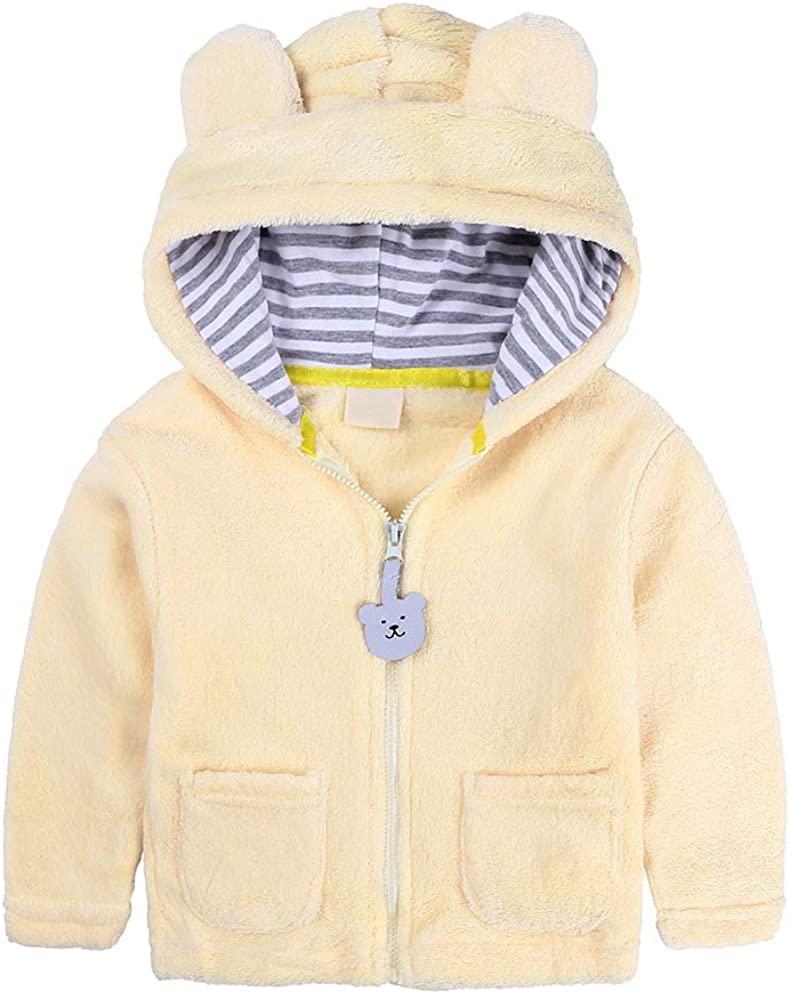 Baby Warm Coat Infant Girls Boys Autumn Winter Cartoon Ears Hooded Fleece Jacket Zip Up Outwear