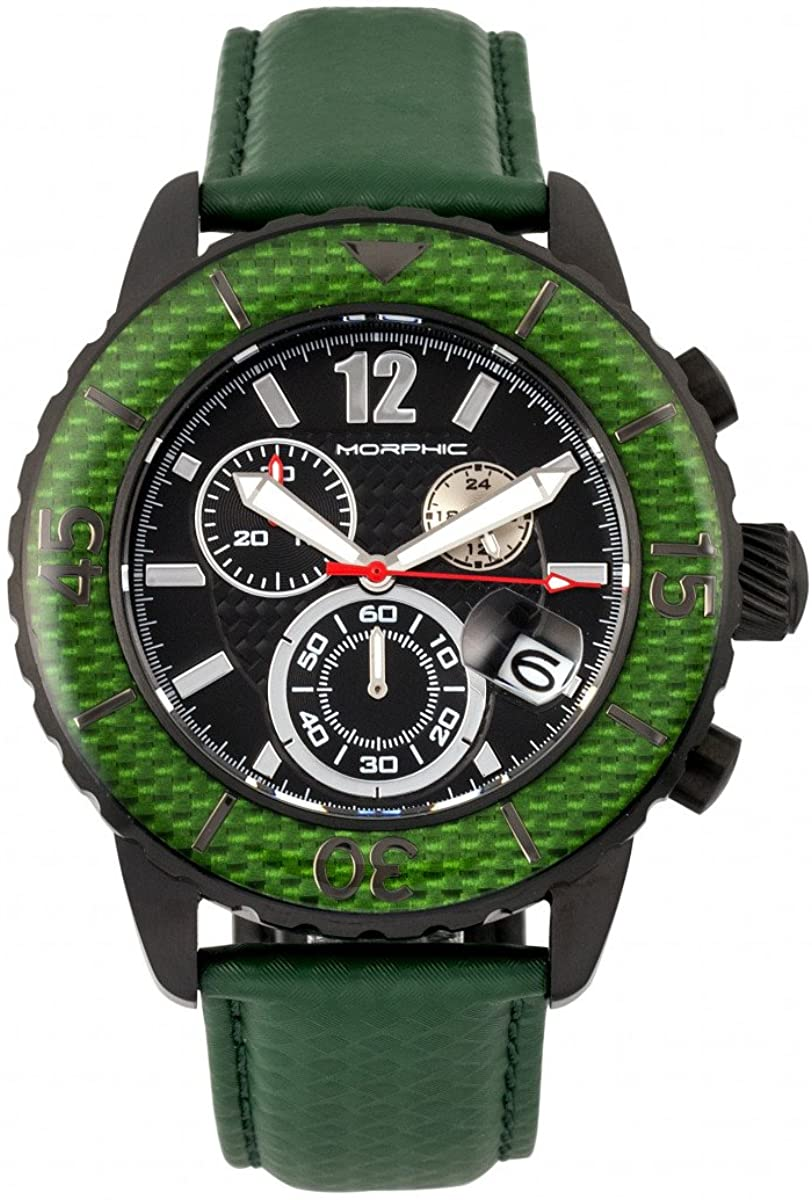 Morphic Men's M51 Series Swiss Chronograph Leather-Band with Date Green/Black Watch