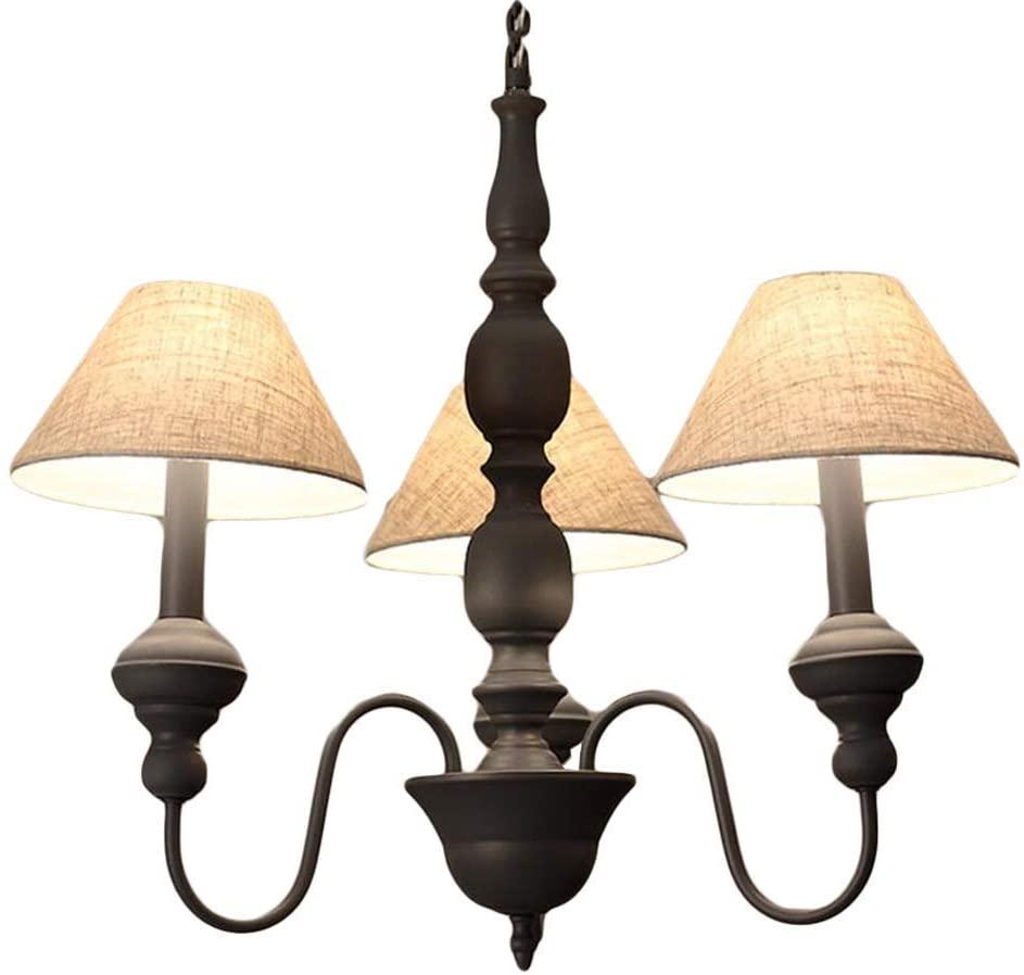 Pendant Light Chandelier Lamp Simple Europe 3-Head Cloth Umbrella-Shape Shade Special Gray/White Nostalgic Iron American Pastoral Living Room Bedroom E14 High-Bright D:42CM.
