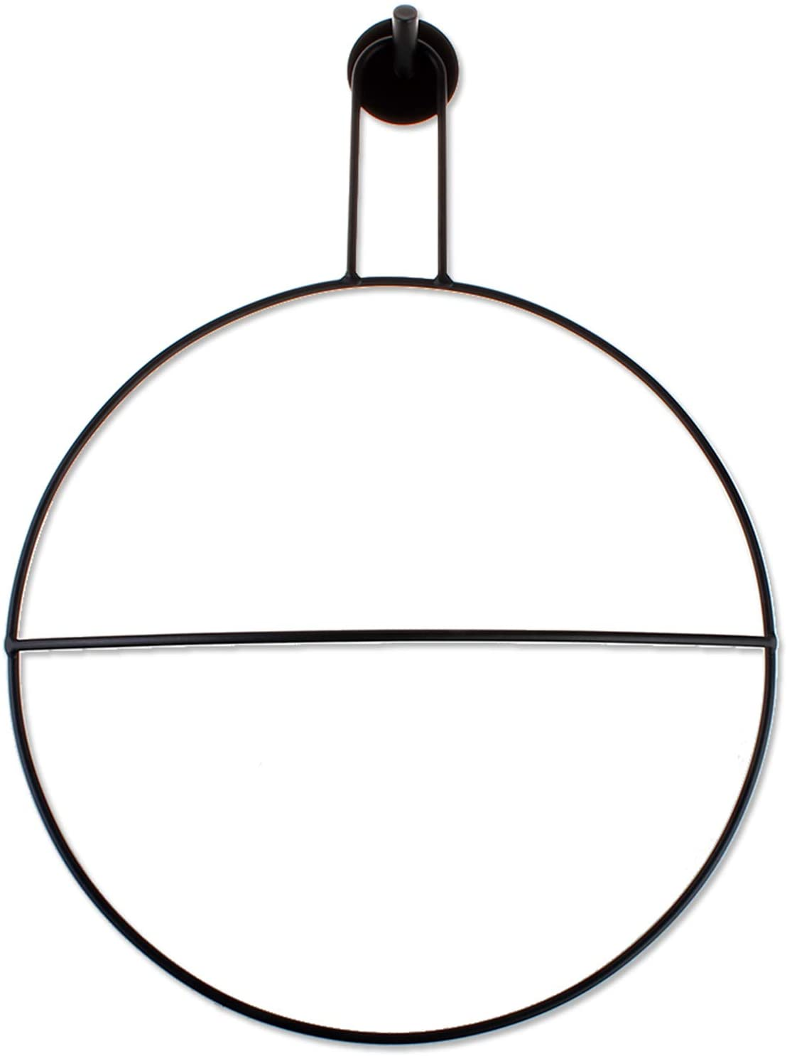 Grneric Matte Black Towel Ring with Wall Hook Bath Accessory Wall Mounted Hardware Accessory Fixture Wall Decor Modern Round Hanger Kitchen Dishcloth Drying (Big 15.8x11.8 inch)