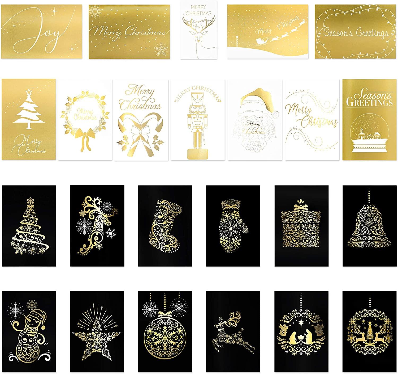 24 Premium Christmas Cards - Elegant Gold Foil Christmas Cards in 24 Fancy Gold Designs (12Black & Gold Christmas Cards, 12White & Gold Christmas Cards) Best Christmas Cards - 4 x 6 inches