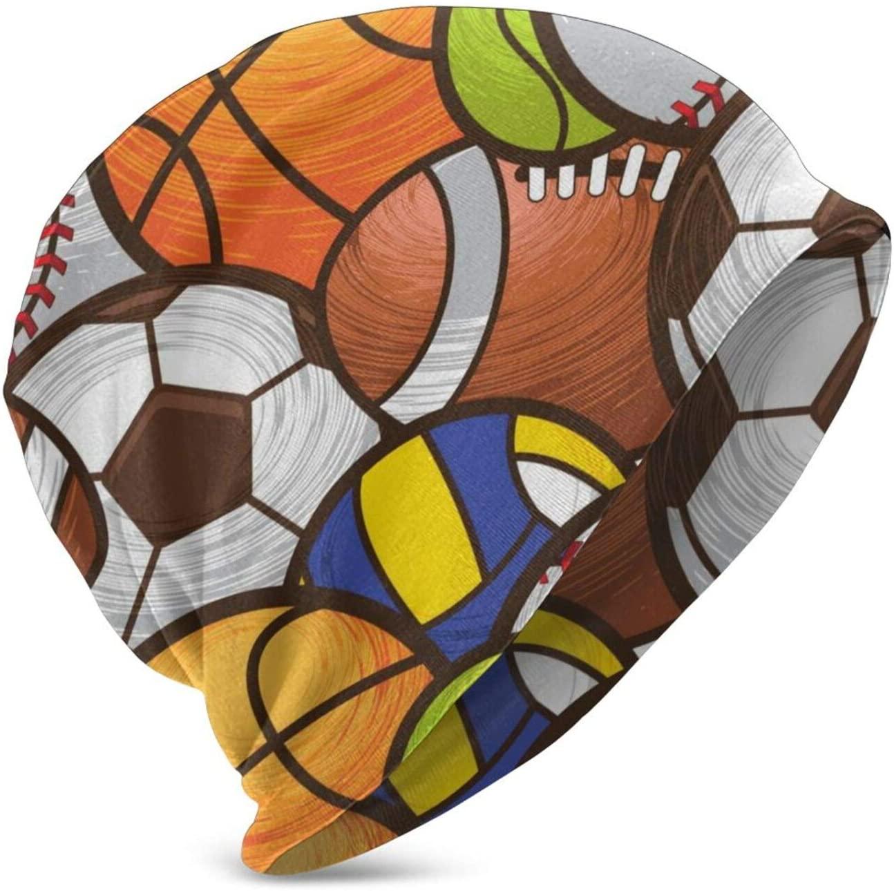 N\ A Sport Ball Football Baseball Basketball Volleyball Beanie Winter Hats for Kids Skull Cap Knit Sleep Hat Girls Boys
