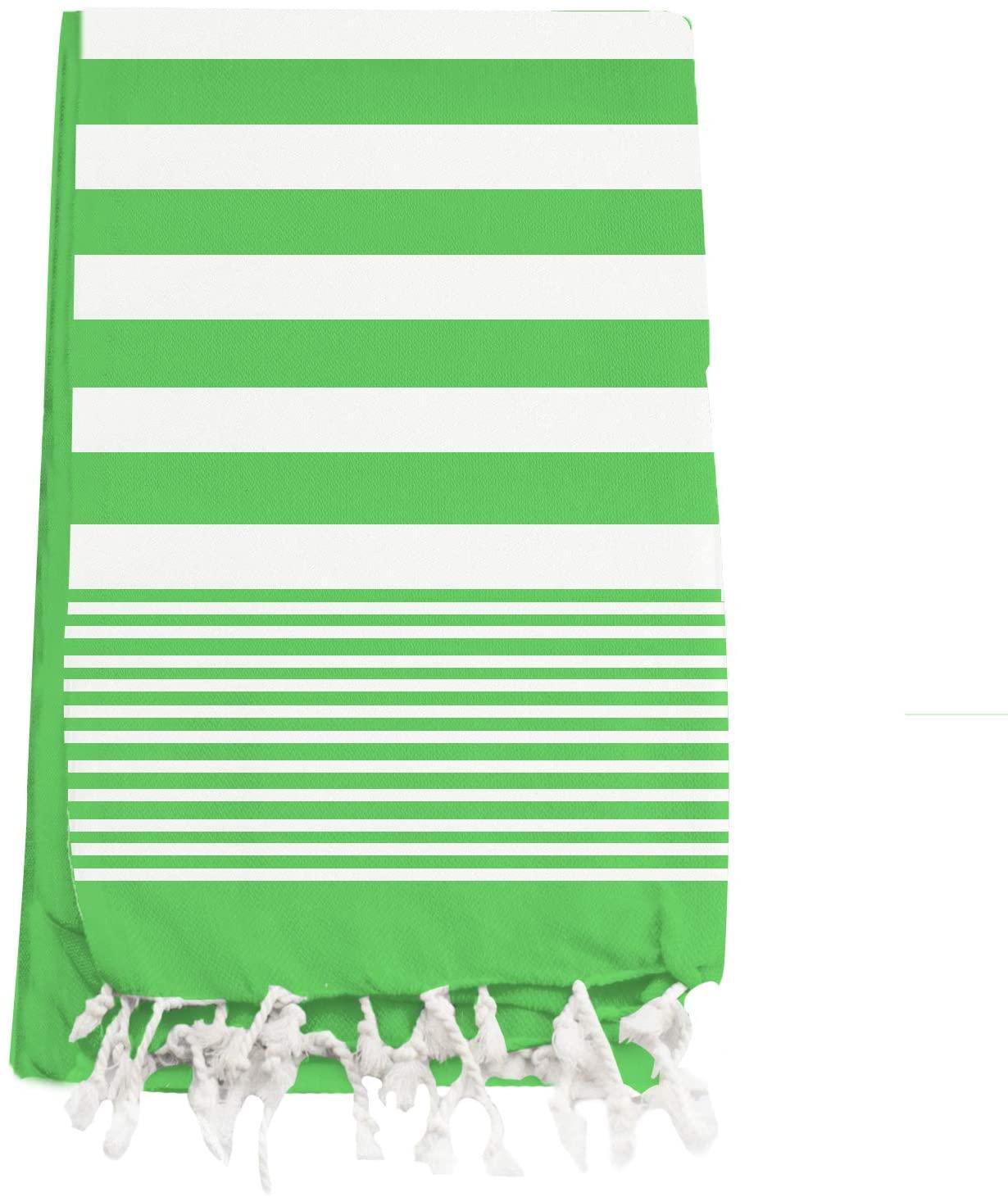 "Linen and Towel Turkish Towel in Cotton Beach Towel, Absorbent Light Weight Bath Towel 40"" x 72"" Light Green Pool Towel, Camping Sauna Gym Blanket Fouta Towels"