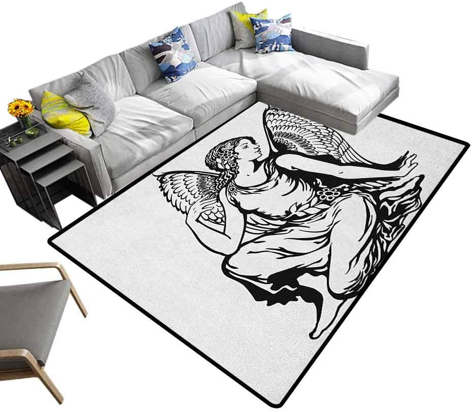Modern Rugs Zodiac Virgo, Super Cozy Bathroom Rug Carpet Young Woman Artistic Figure with Angel Wings Monochrome Tattoo Art Design for Sitting Room Bedroom Dormitory Black and White, 6 x 9 Feet