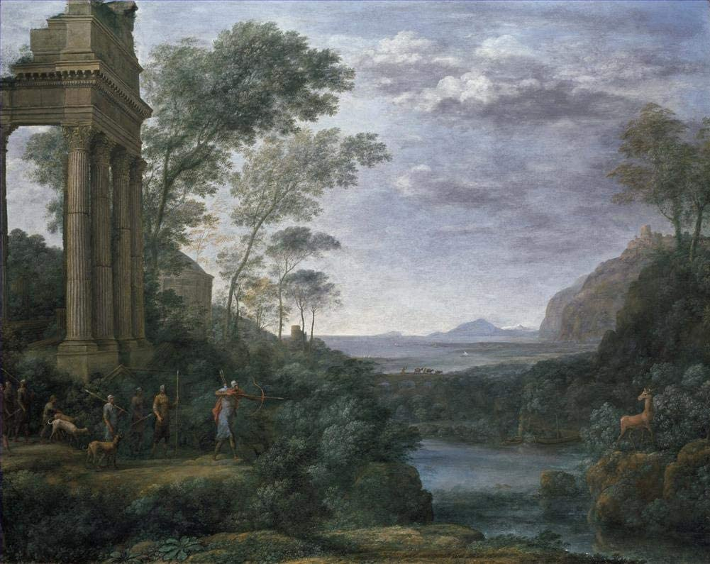 11 Famous Paintings - $50-$1000 Hand Painted by Academic Artists - Landscape with Ascanius Shooting The Stag of Sylvia Claude Lorrain LEPS3 - Art Oil Painting on Canvas -Size05
