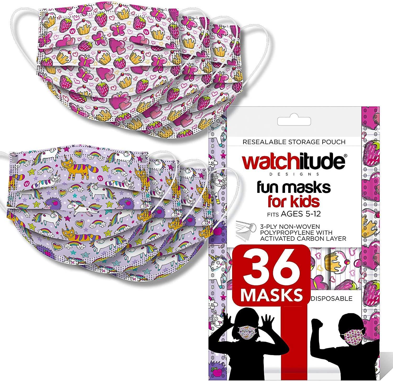 Watchitude Kids Fun Safety Masks, 18X Butterfly Picnic, 18X Unicorn, Disposable