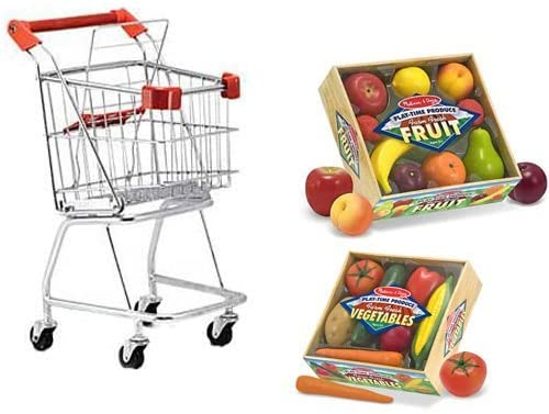 Melissa & Doug Shopping Cart with Playtime Veggies and Playtime Fruits