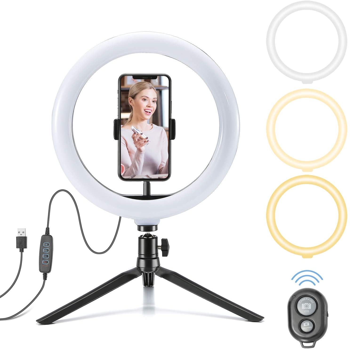 """10""""Ring Light LED Desktop Selfie Ring Light with Tripod Stand and Phone Holder,Adjustable Selfie Circle Light with Remote for Makeup, TikTok, Live Streaming,YouTube,Self- Portrait Shooting"""