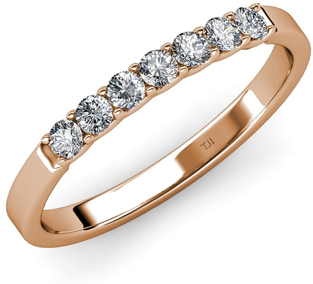 TriJewels Round Lab Grown Diamond 7 Stone Womens Wedding Band Stackable (VS2-SI1, G) 0.35 ctw 14K Gold