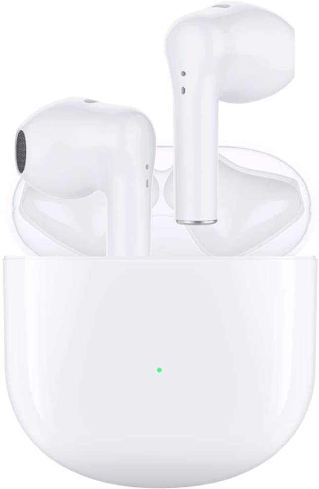 Wireless Earbuds Bluetooth 5.0 Bluetooth Headset 3D Stereo Built-in Mic IPX5 Waterproof Pop-ups Auto Pairing Fast Charging for Earphone S (White)