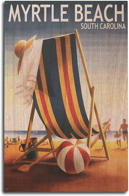 Lantern Press Myrtle Beach, South Carolina - Beach Chair and Ball (10x15 Wood Wall Sign, Wall Decor Ready to Hang)