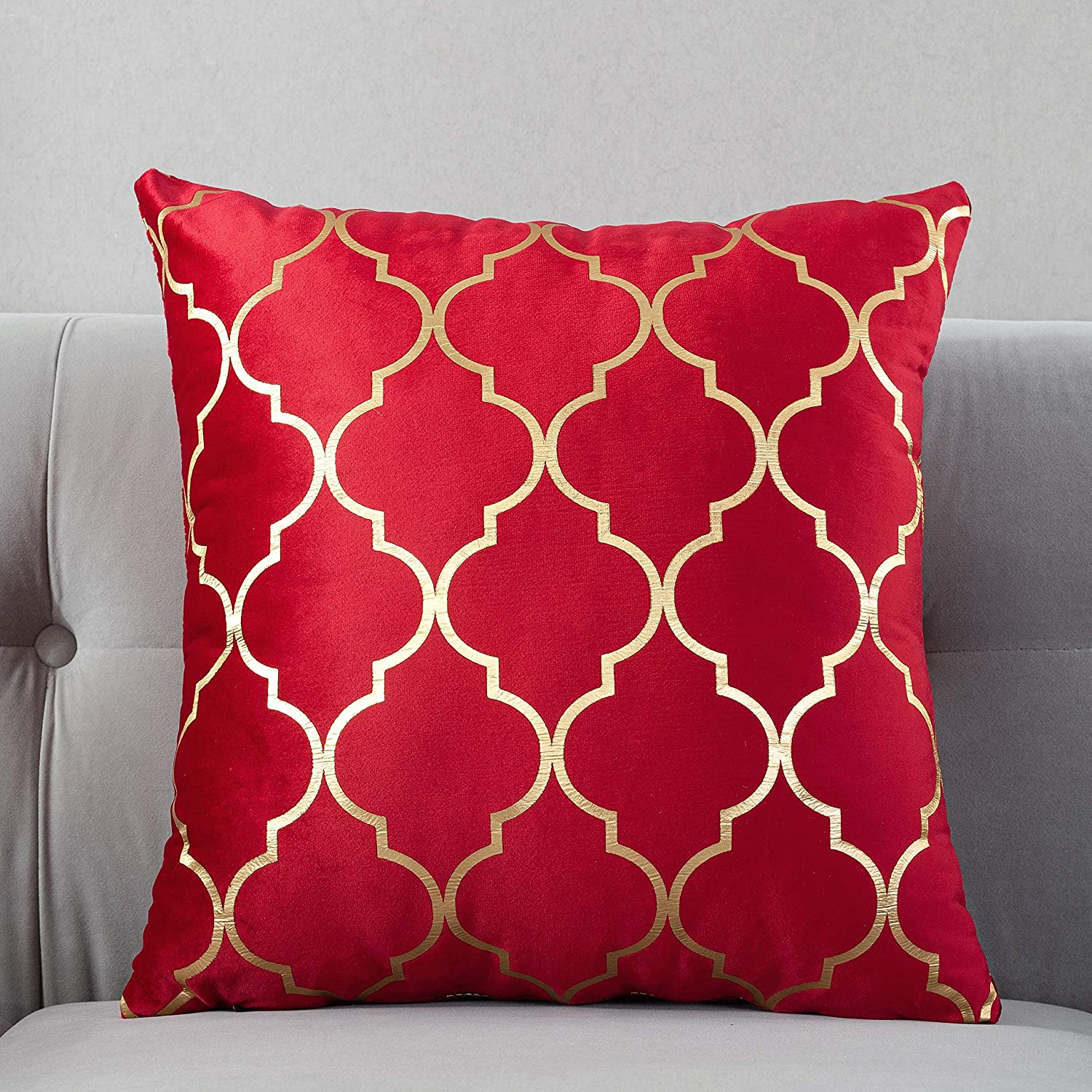 TAOSON Pack of 2,Moroccan Quatrefoil Geometric Bronzing Printed Cozy Soft Throw Pillow Cases Cushion Covers Shells for Sofa Couch Bed Home Decoration 18 x 18 Inches, Red and Gold