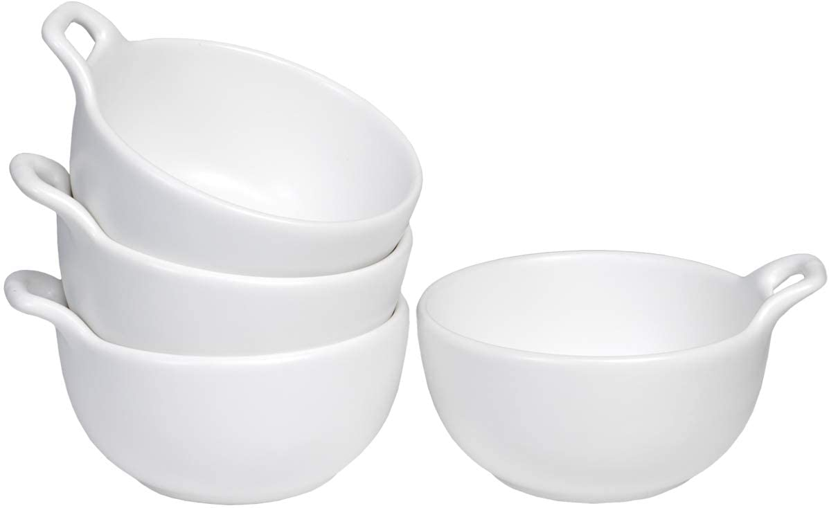 AQUIVER 10 Ounces Bowl Set - Ceramic Matte Small Bowls With Handles - Side Dishes for Desserts, Ice Cream, Snacks, Condiments, Souffle, Yogurt, Soup - Porcelain Dipping Sauce Bowl, Set of 4 (White)