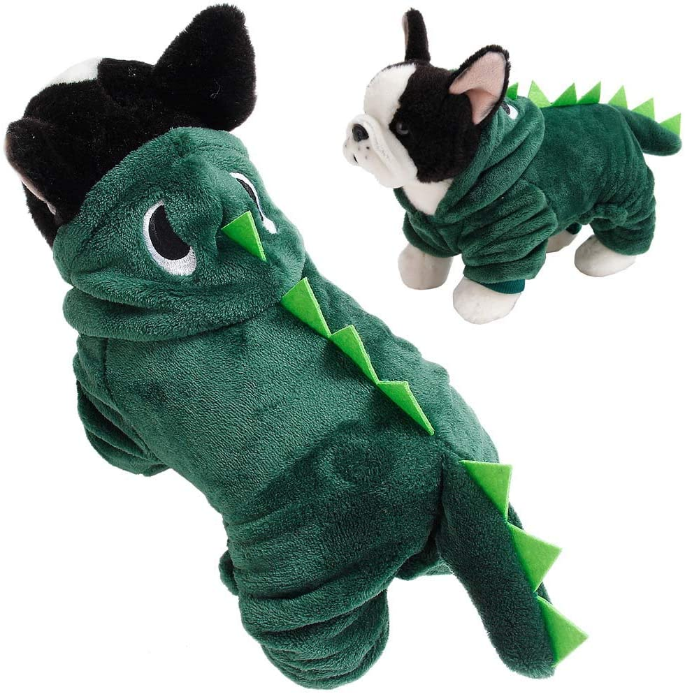 Huret Dog Dinosaur Costume Plush Pet Hoodies for Small Dogs and Cats Coral Fleece Jumpsuits Pajamas Christmas Party Cosplay Apparel