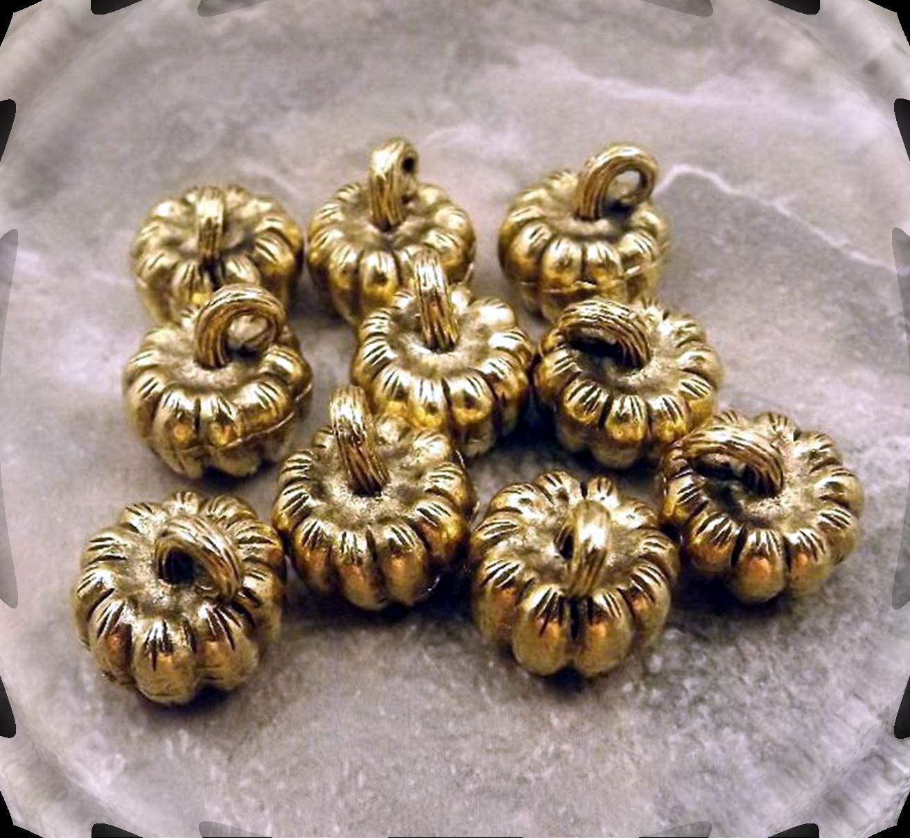 Lot of 10 Pewter 3D Gold Tone Pumpkin Charms Adorable Charms and More for Your own Designs by CharmingStuffS