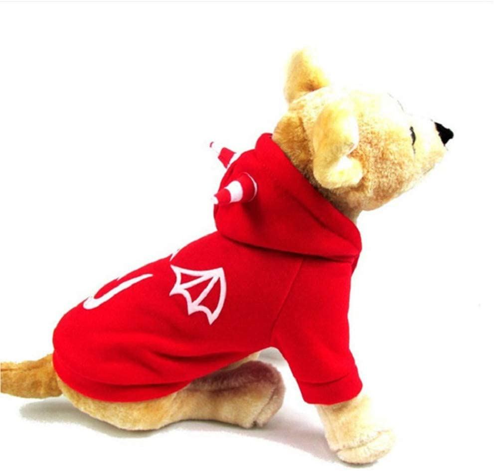 Balacoo Dog Halloween Costume Funny Devil Printing Hoodie Christmas Holiday Party Cosplay Dress Up Pet Clothes for Small Medium Large Dogs Size S (Red)